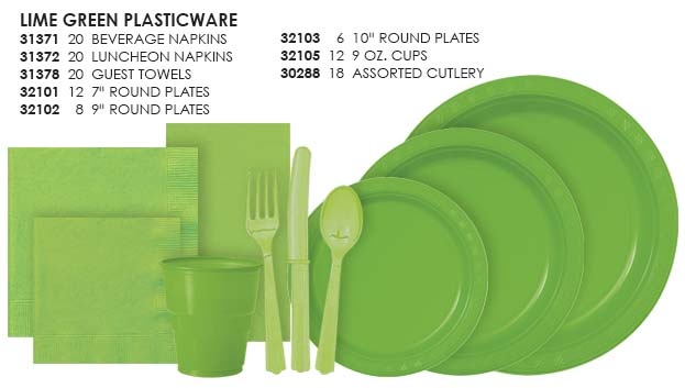 Lime Green Solid Color Paperware