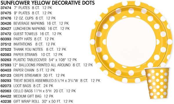 Sunflower Yellow Paper Tableware