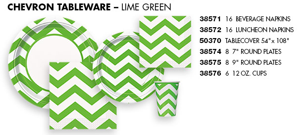 Lime Green Chevron Tableware