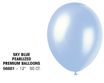 Sky Blue Premium Pearlized Balloons