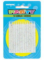 1903W White Glitter Candles