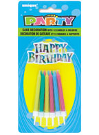 1960 Happy BIrhtday Rainbow Cake Topper with 12 Candles and Holders