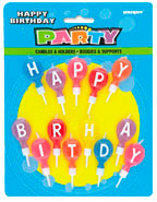 34016 Happy Birthday Round Letter Candles and Holders