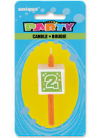 34032 Numeral 2 Glitter Block Candle