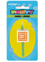 34033 Numeral 3 Glitter Block Candle