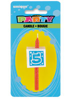 34035 Numeral 5 Glitter Block Candle