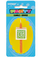 34036 Numeral 6 Glitter Block Candle