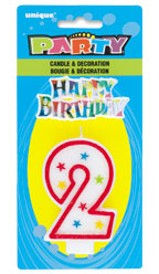 37312 Numeral 2 Glitter Candle With Cake Decor