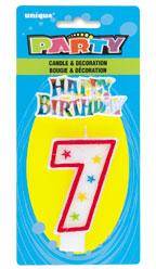 37317 Numeral 7 Glitter Candle with Cake Decor