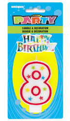 37318 Numeral 8 Glitter Candle with Cake Decor