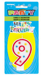 37319 Numeral 9 Glitter Candle with Cake Decor